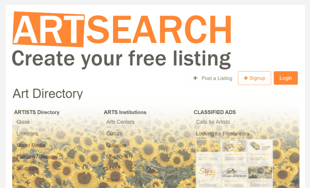 Submit your listing free to ART Directory